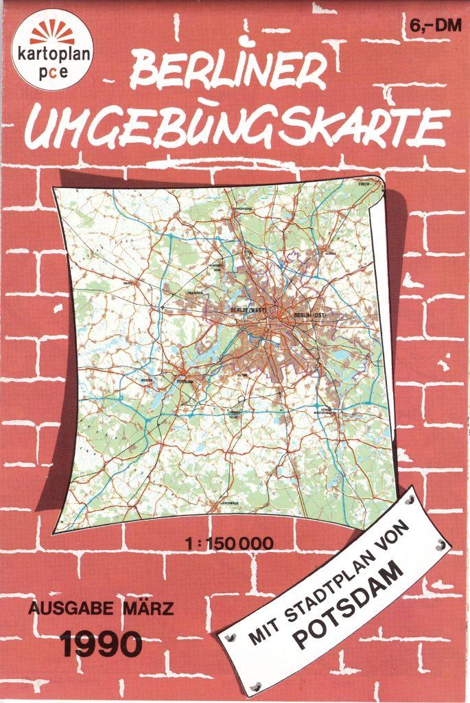 Berliner Umgebungskarte 1:150.000 kartoplan-pce 1990
